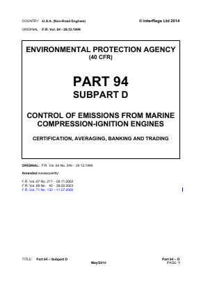 Control of Emissions from Marine Compression-ignition Engines - Certification, Averaging, Banking and Trading.