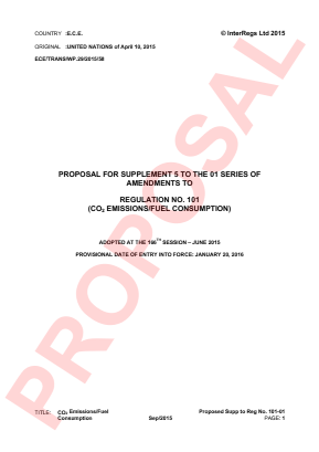 Emission of Carbon Dioxide and Fuel Consumption. Proposed Supplement 5 to the 01 Series.