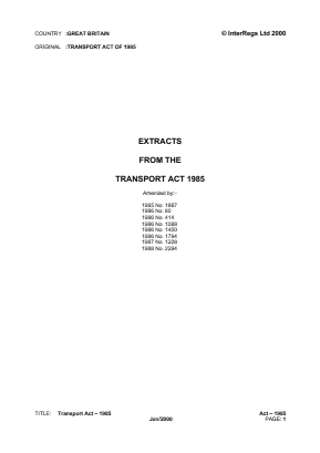 Transport Act 1985 (Extracts).