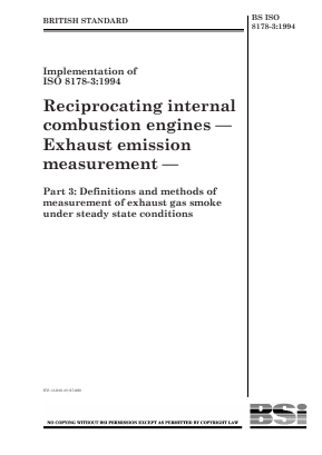 Emissions - Internal Combustion Engines - Measurement of Exhaust Smoke in Steady-State Conditions.