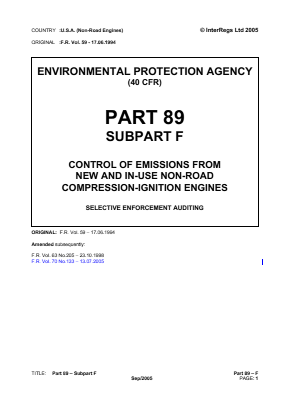 Control of Emissions from New and In-use Non-road Compression-ignition Engines - Selective Enforcement Auditing.