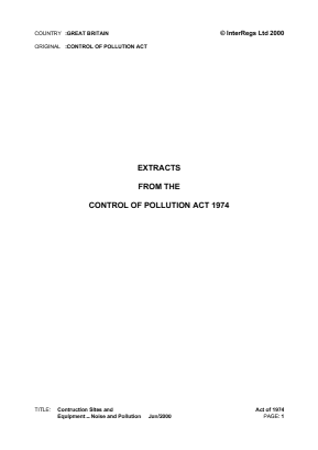 Control of Pollution Act 1974 - Construction Site and Equipment Noise and Pollution (Extracts).