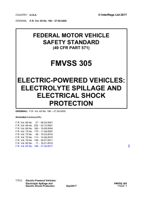 Electric-powered Vehicles: Electrolyte Spillage and Electrical Shock Protection.