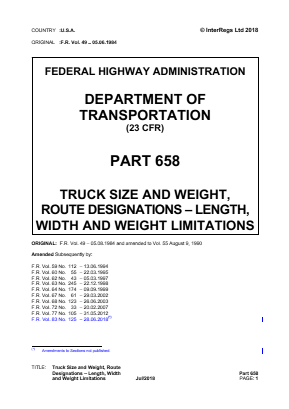 Truck Size and Weight, Route Designations - Length, Width and Weight Limitations.