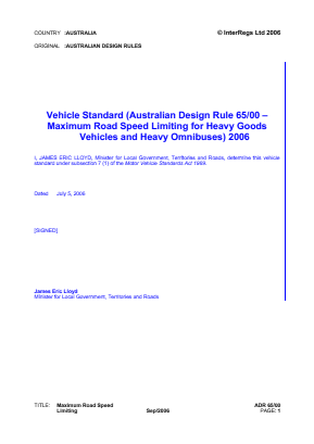 Maximum Speed Limiting for Heavy Duty Vehicles and Omnibuses.