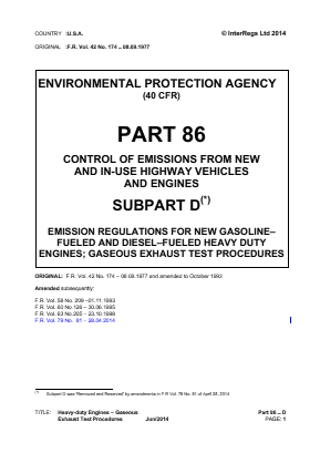 Control of Emissions from New and In-use Highway Vehicles and Engines - Heavy-duty Engines - Gaseous Exhaust Test Procedures.