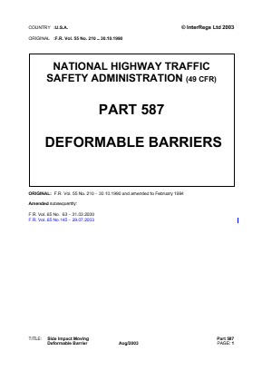 Deformable Barriers - for Safety Compliance Tests.