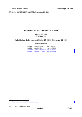 Road Traffic Act 1996 (Extracts).