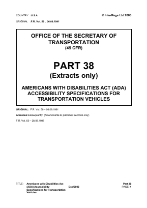 Accessibility Specifications for Transportation Vehicles (Extracts).