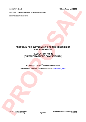 Electromagnetic Compatibility. Proposed Supplement 3 to the 04 Series.