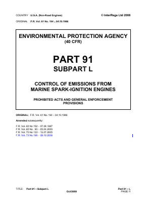 Control of Emissions from Marine Spark-ignition Engines - Prohibited Acts and General Enforcement Provisions.