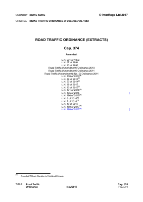 Road Traffic Ordinance (Extracts).