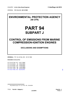 Control of Emissions from Marine Compression-ignition Engines - Exclusions and Exemptions.