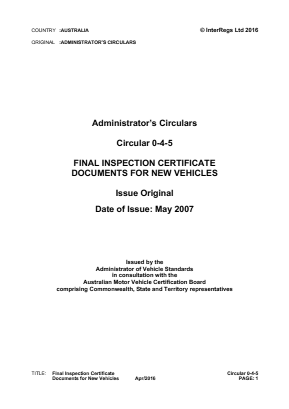 Final Inspection Certificate Documents for New Vehicles.