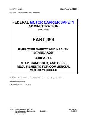 Step, Handhold, and Deck Requirements for Commercial Vehicles.