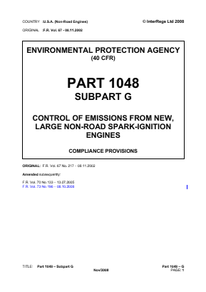 Control of Emissions from New, Large Non-Road Spark-Ignition Engines - Compliance Provisions.