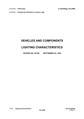 Lamps and Lighting of Vehicles.