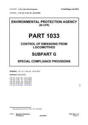 Control of Emissions from Locomotives - Special Compliance Provisions.