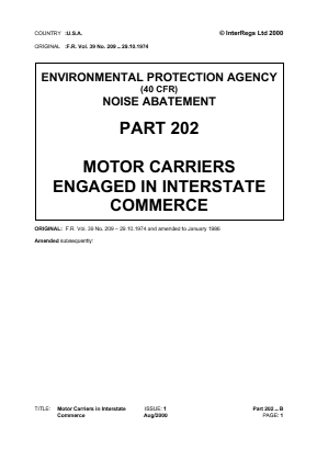 Motor Carriers in Interstate Commerce - Noise.