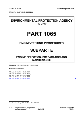 Engine Testing Procedures - Engine Selection, Preparation and Maintenance.