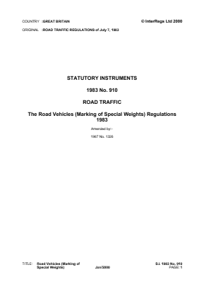 Road Vehicles (Marking of Special Weights) Regulations 1983.