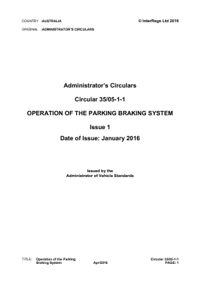 Operation of the Parking Braking System.