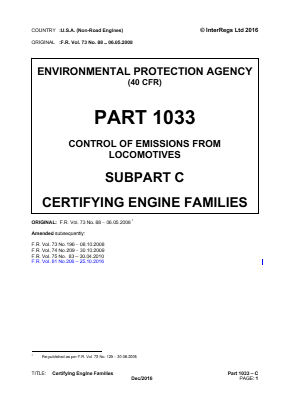 Control of Emissions from Locomotives - Certifying Engine Families.