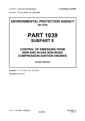 Control of Emissions from New and In-use Non-road Compression-ignition Engines - In-use Testing.