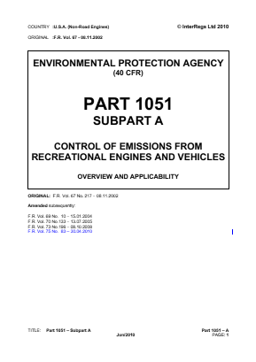 Control of Emissions from Recreational Engines and Vehicles - Overview and Applicability.