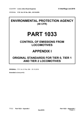 Control of Emissions from Locomotives - Original Standards for Tier 0, Tier 1 and Tier 2 Locomotives.