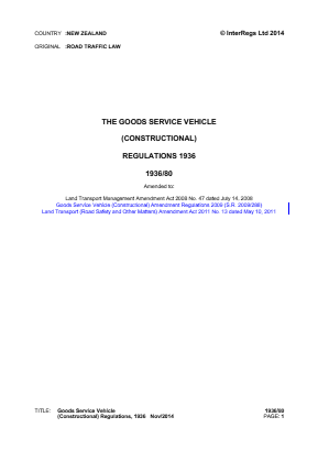 Goods Service Vehicle (Constructional) Regulations 1936.