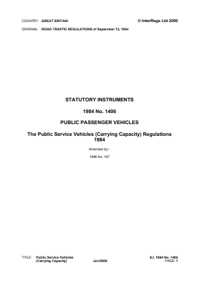 Public Service Vehicles (Carrying Capacity) Regulations 1984.
