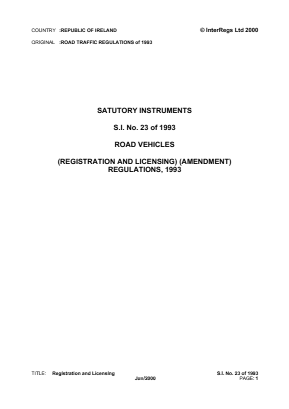 Road Vehicles (Registration and Licensing) (Amendment) Regulations 1993.