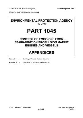 Control of Emissions from Spark-ignition Propulsion Marine Engines and Vessels - Appendices.
