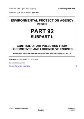 Control of Air Pollution from Locomotives and Locomotive Engines - General Enforcement Provisions and Prohibited Acts.