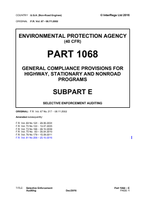 General Compliance Provisions for Highway, Stationary and Non-road Programs - Selective Enforcement Auditing.