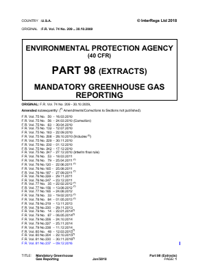 Mandatory Greenhouse Gas Reporting (Extracts).