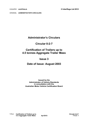 Certification of Trailers up to 4.5t.