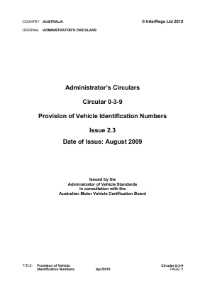 Provision of Vehicle Identification Numbers.
