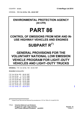 Voluntary National Low Emission Program for Light-duty Vehicles and Trucks - General Provisions.