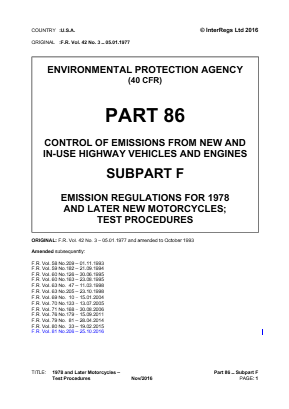 Emission Regulations - 1978 and Later New Motorcycles - Test Procedures.