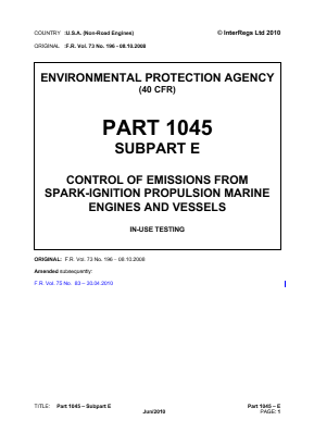Control of Emissions from Spark-ignition Propulsion Marine Engines and Vessels - In-use Testing.