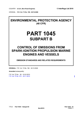 Control of Emissions from Spark-ignition Propulsion Marine Engines and Vessels - Emission Standards and Related Requirements.