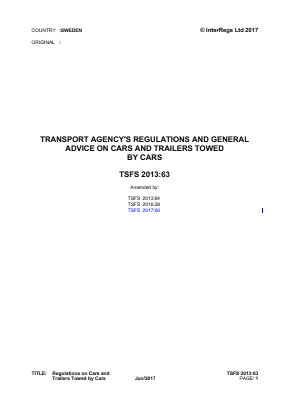 Regulations on Cars and Trailers Towed by Cars.