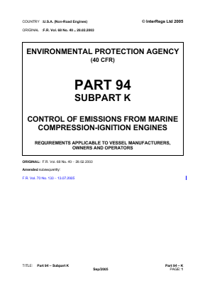 Control of Emissions from Marine Compression-ignition Engines - Requirements Applicable to Vessel Manufacturers, Owners and Operators.