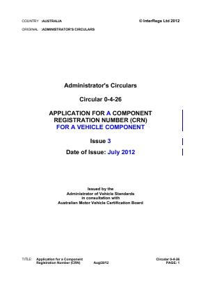 Application for a Component Registration Number (CRN) for a Vehicle Component.