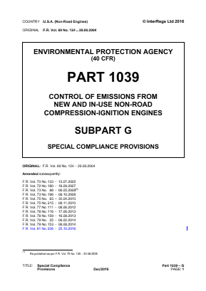 Control of Emissions from New and In-use Non-road Compression-ignition Engines - Special Compliance Provisions.