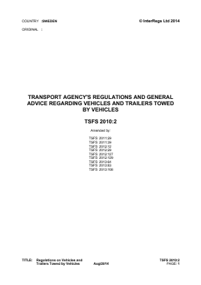 Regulations on Vehicles and Trailers Towed by Vehicles.