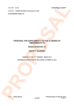 Safety Glazing. Proposed Supplement 5  to the 01 Series.