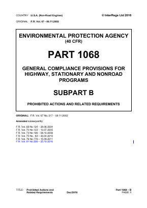 General Compliance Provisions for Highway, Stationary and Non-road Programs - Prohibited Actions and Related Requirements.